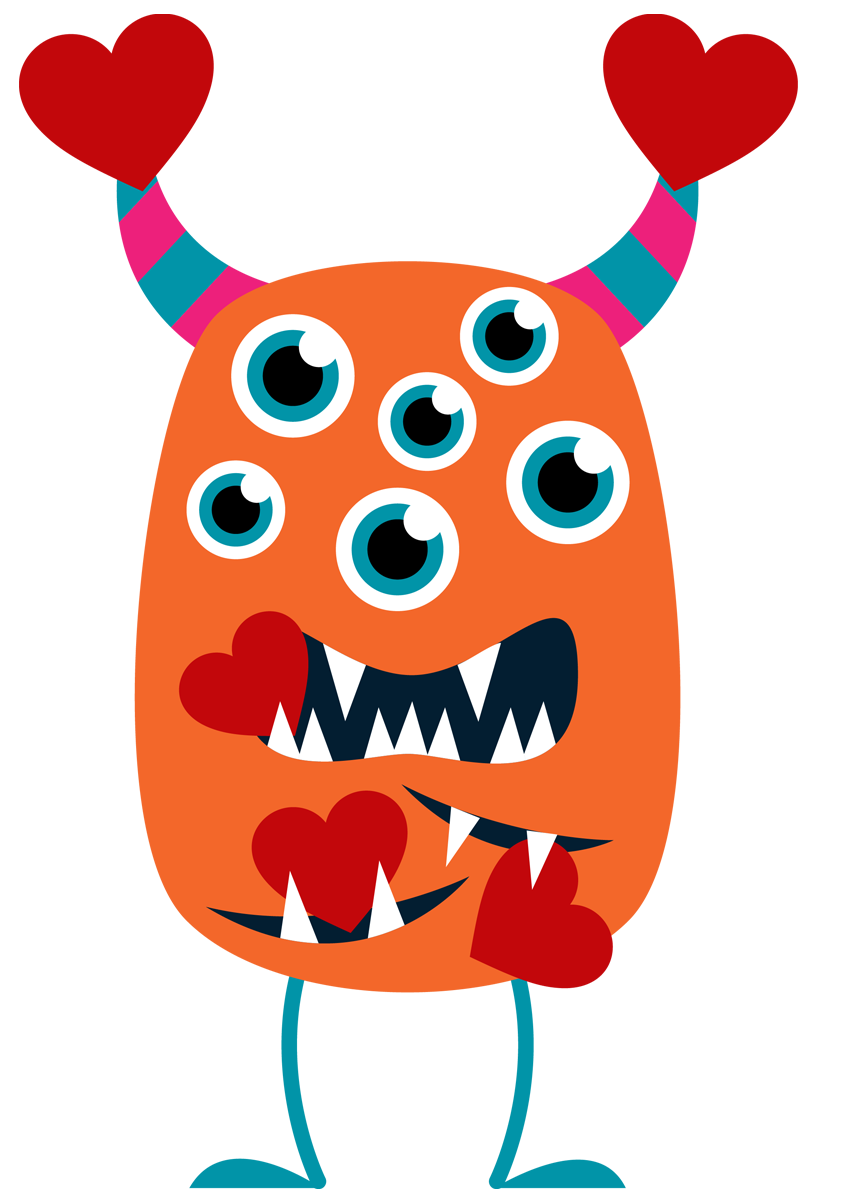 848x1200 Monster clipart valentine