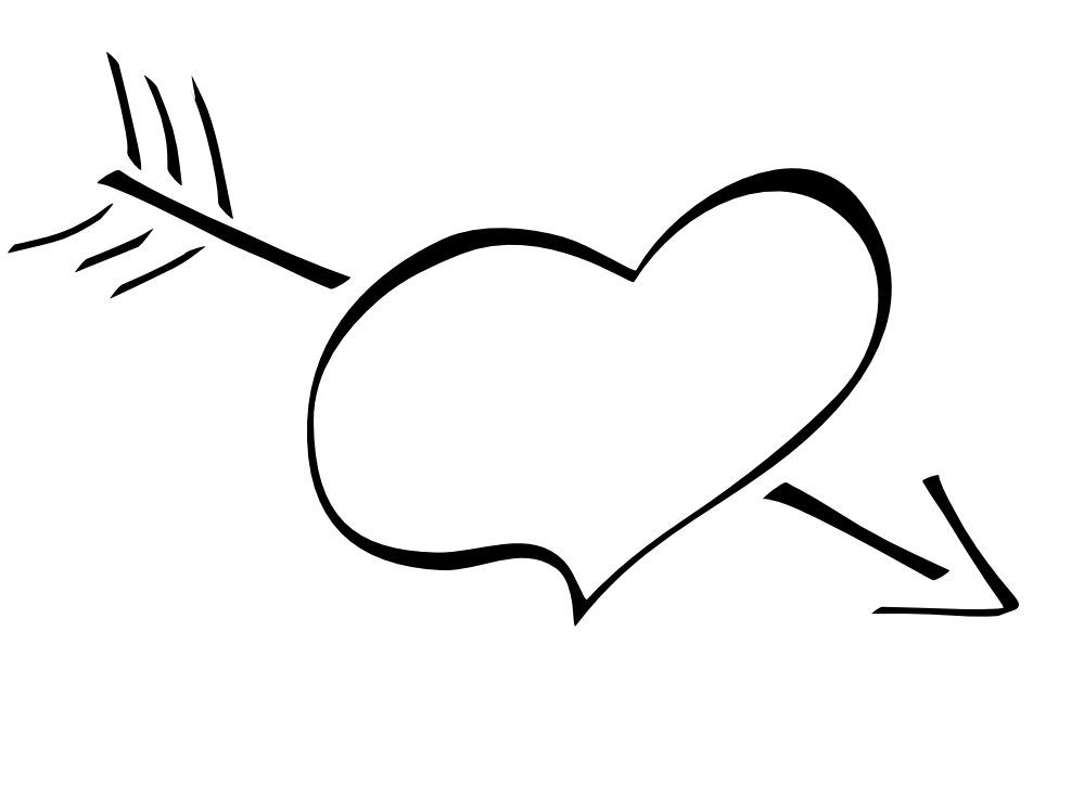 999x749 Black and white valentines clipart