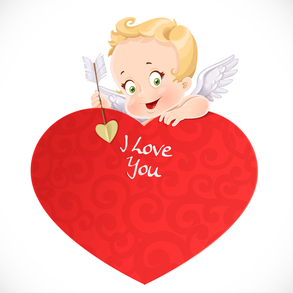 600x600 Cute Cupid With Big Red Heart And Valentine Card Vector