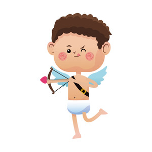 300x300 Illustration Of A Cupid Shooting Arrow On A Valentine Card Royalty