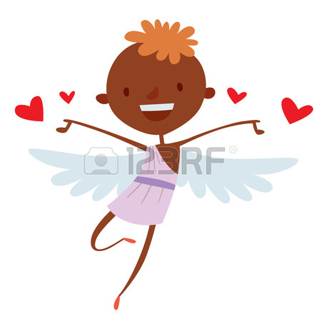 450x450 Valentine Day Cupid Angels Cartoon Style Vector Illustration