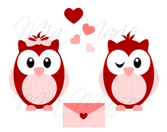 340x270 Valentine's Day Sweet Owls Digital Clipart Set Personal