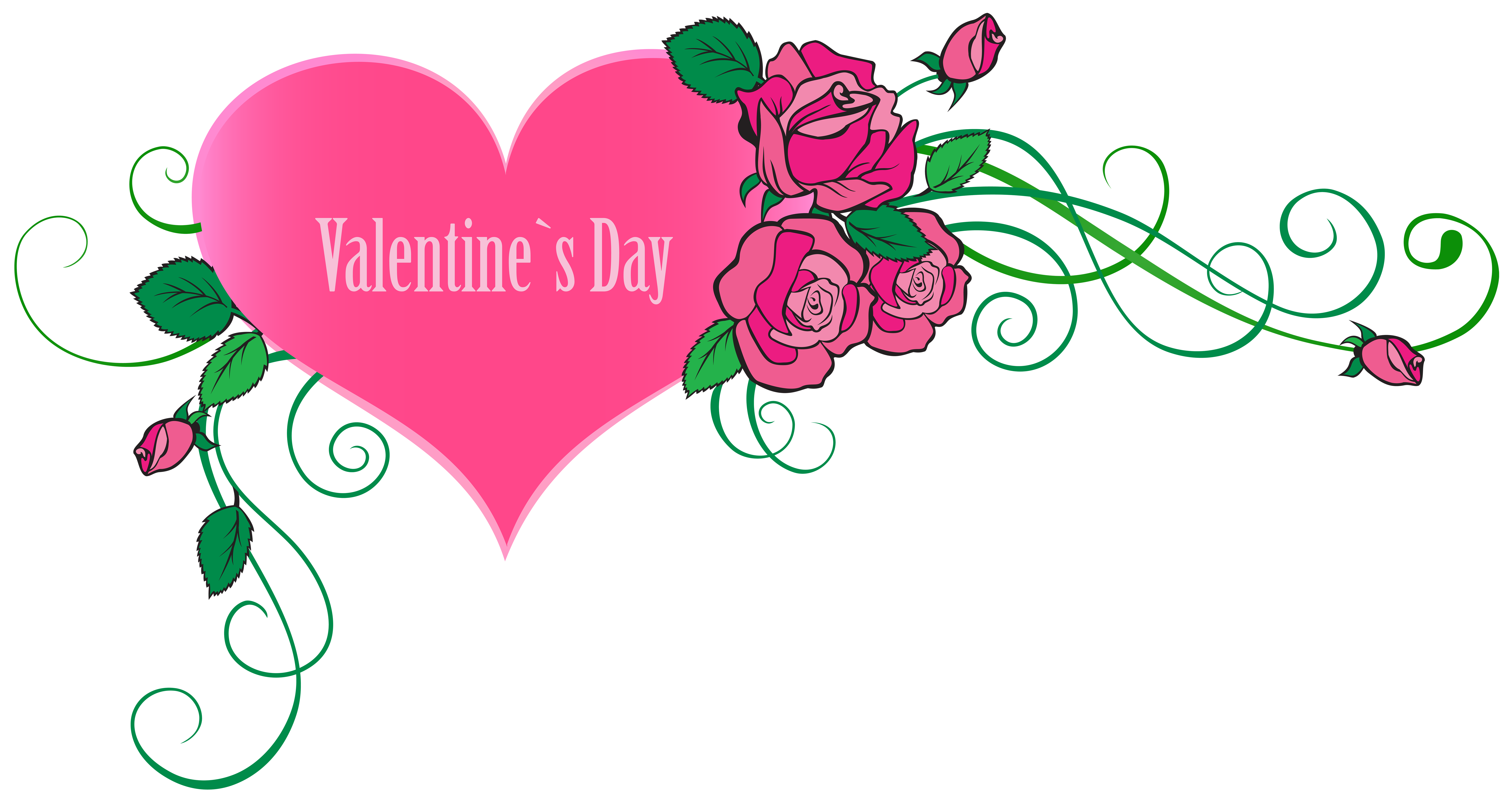 8000x4253 Happy Valentine's Day Heart With Roses Transparent Png Clip Art