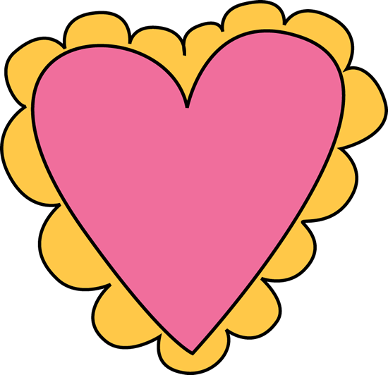 550x532 Pink And Yellow Valentine's Day Heart Clip Art