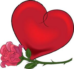 300x281 Valentine's Day Clipart Valentine Rose Heart