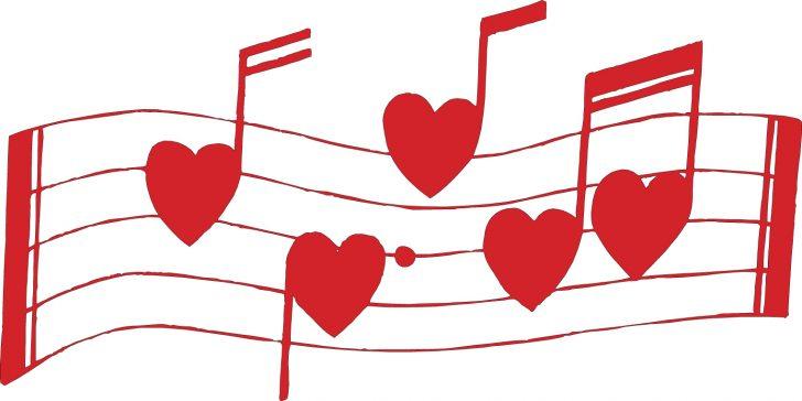 728x364 Valentine ~ Valentine Heart Shaped Music Notes Valentines Day