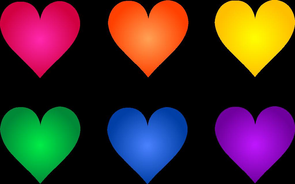 1024x639 Valentine ~ Valentines Symbols Hearts Set 1 Colorful Rainbow Heart
