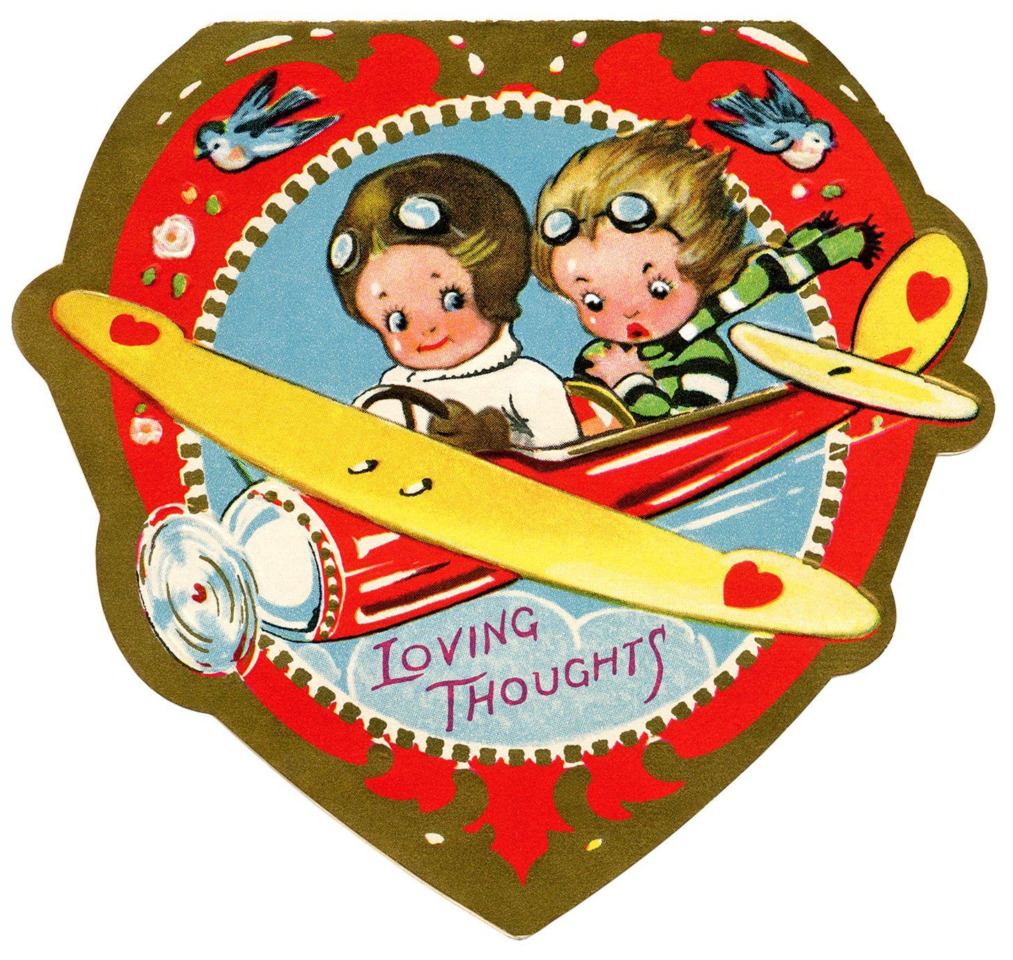 1455x1380 Biplane Valentine, Vintage Valentine Clip Art, Airplane Valentine