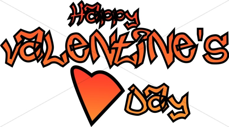 776x429 Graffiti Happy Valentine's Day With Heart Secular Holiday Word Art
