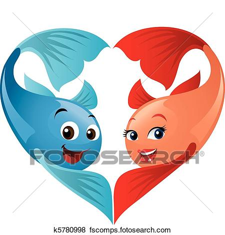 450x470 Clip Art Of Cute Valentine Fish Couple Forming A Heart. A Fun