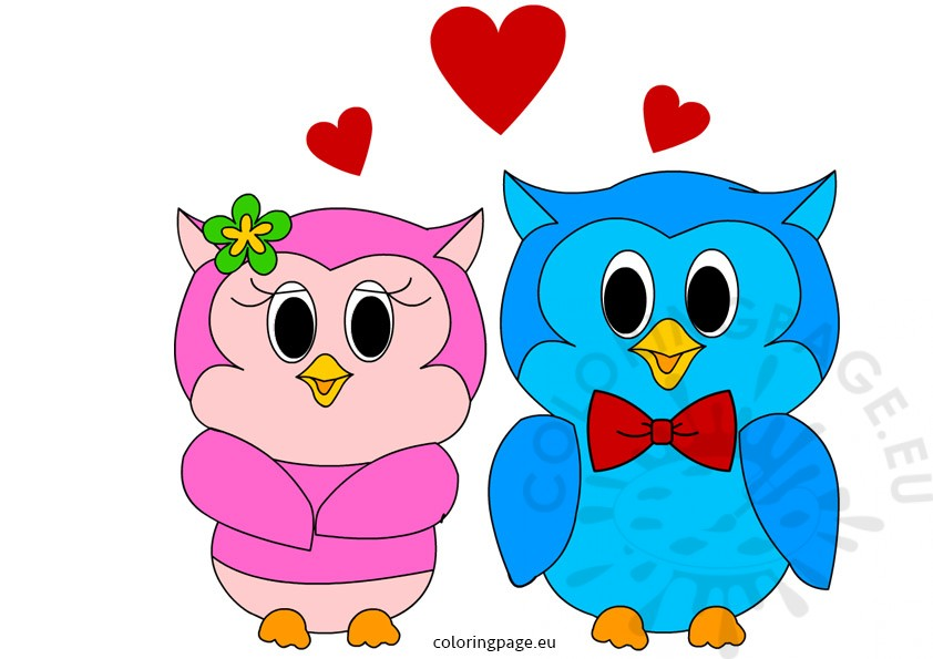 842x595 Owls in Love Valentines Day Clip Art Coloring Page