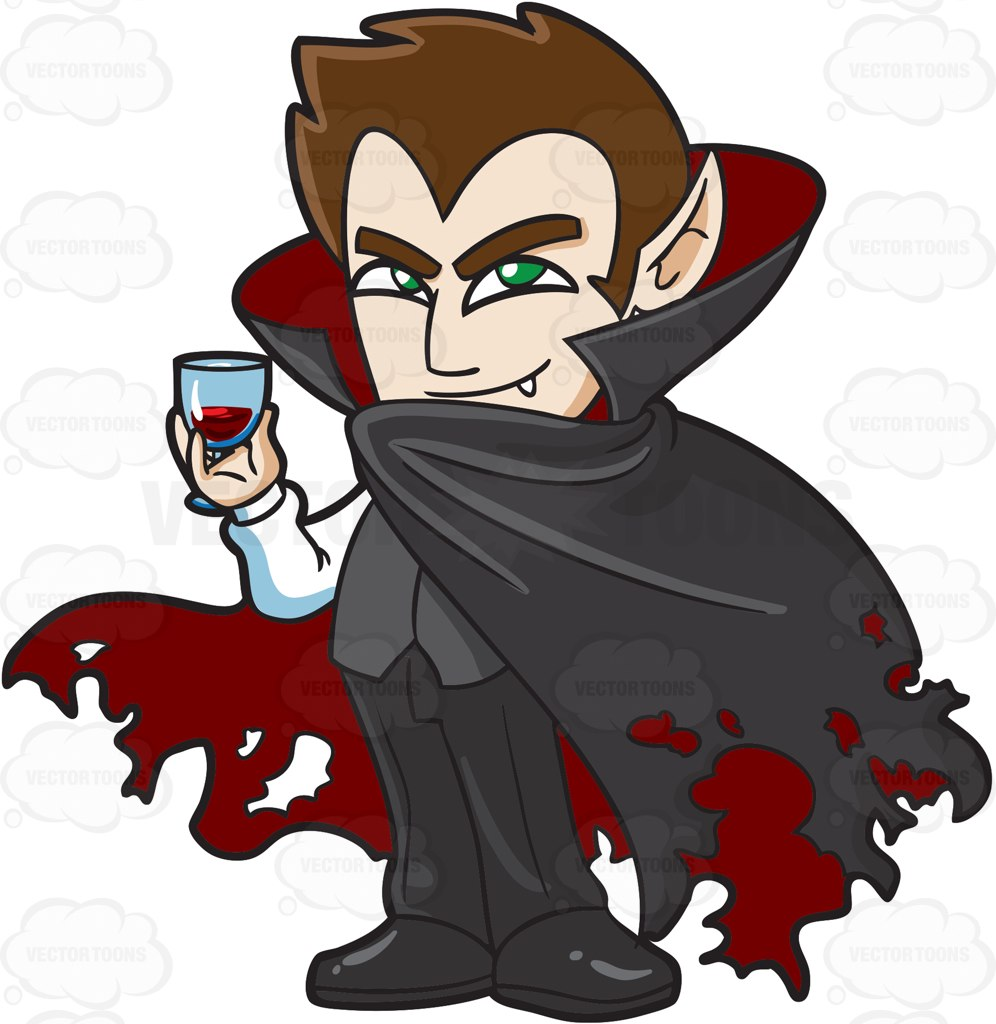 996x1024 A Shy Vampire Drinking A Glass Of Blood Cartoon Clipart