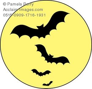 300x293 Clip Art Illustration Of A Vampire Bats Flying Across A Full Moon