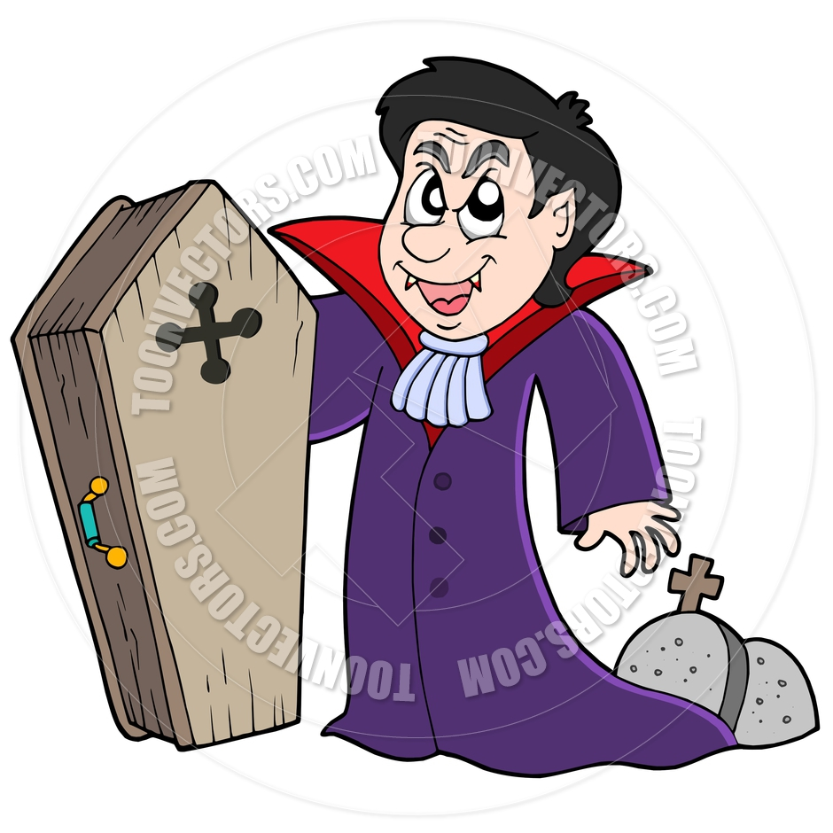 940x940 Cartoon Vampire With Coffin And Graves By Clairev Toon Vectors