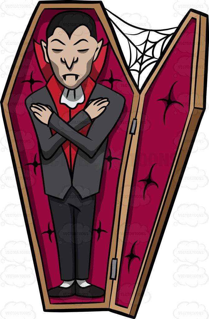 671x1024 A Vampire Sleeping In His Coffin Cartoon Clipart
