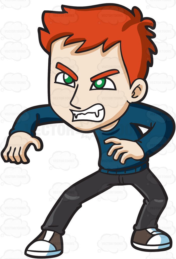 699x1024 An Angry Teen Vampire Cartoon Clipart