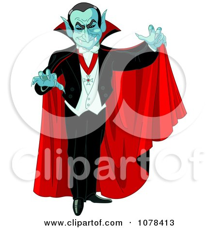 450x470 Clipart Dracula Vampire Reaching Out And Wearing A Red Cape