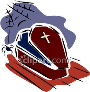 294x300 Vampire's Coffin And A Scary Spider Royalty Free Clipart Picture