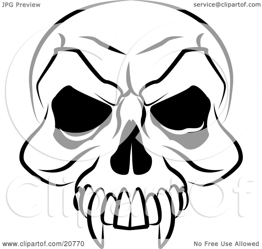 1080x1024 Clipart Illustration Of A Vampire's Skull With Fanged Teeth