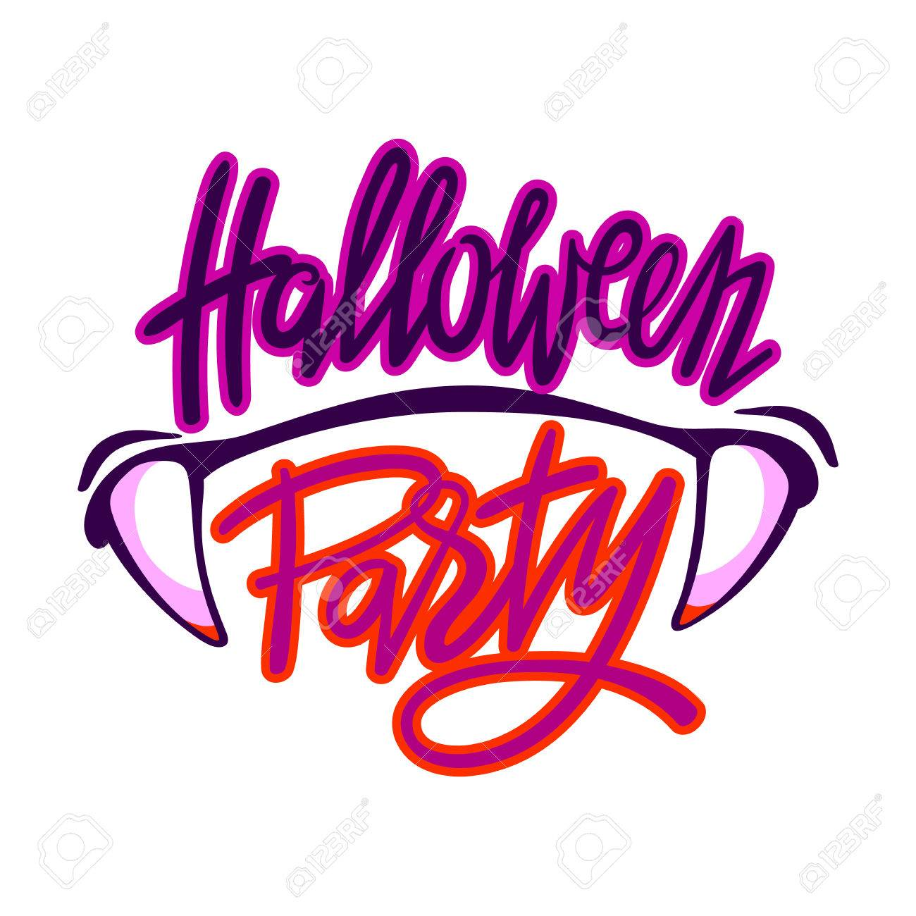 1300x1300 Halloween Party Logo. Lettering With Vampire Teeth Royalty Free