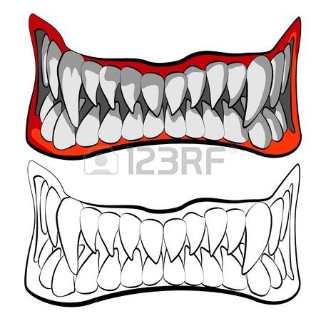 450x450 Vampire Teeth With Blood On Dark Background, Illustration Royalty