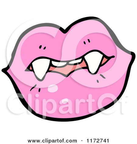 450x470 Cartoon Of A Pink Lips And Vampire Teeth