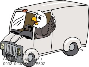 300x225 Clip Art Illustration Of Bald Eagle Driving A Delivery Van