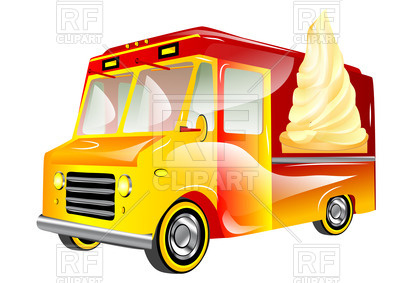 400x283 Ice Cream Van Isolated On A White Royalty Free Vector Clip Art