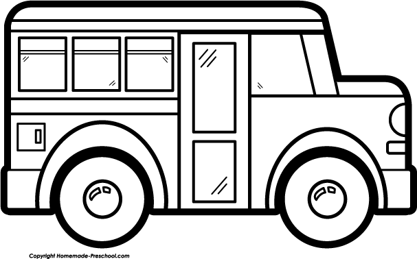 607x378 Free Bus Clipart Black And White Image