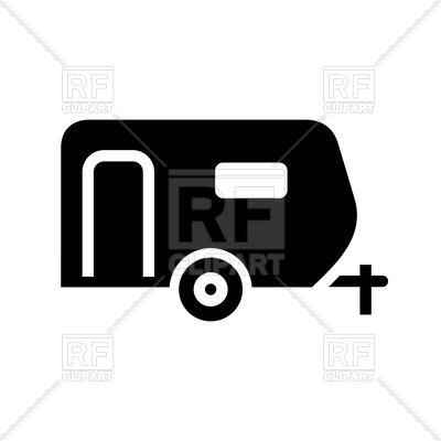 400x400 Black Icon Of Trailer On White Background