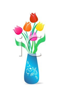 230x350 Clip Art Illustration Of A Vase Of Spring Tulips