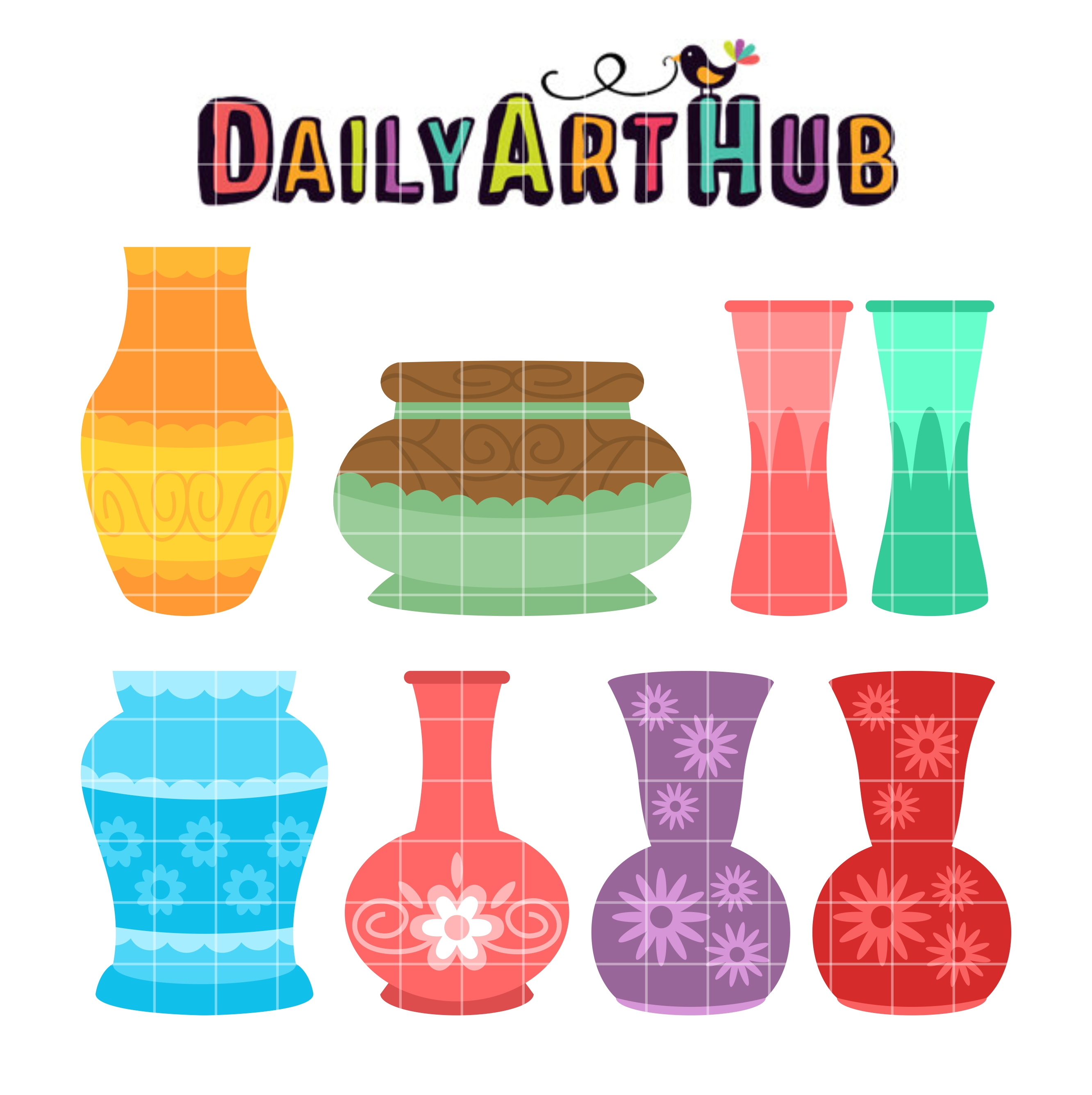 2664x2670 Empty Flower Vases Clip Art Set Daily Art Hub