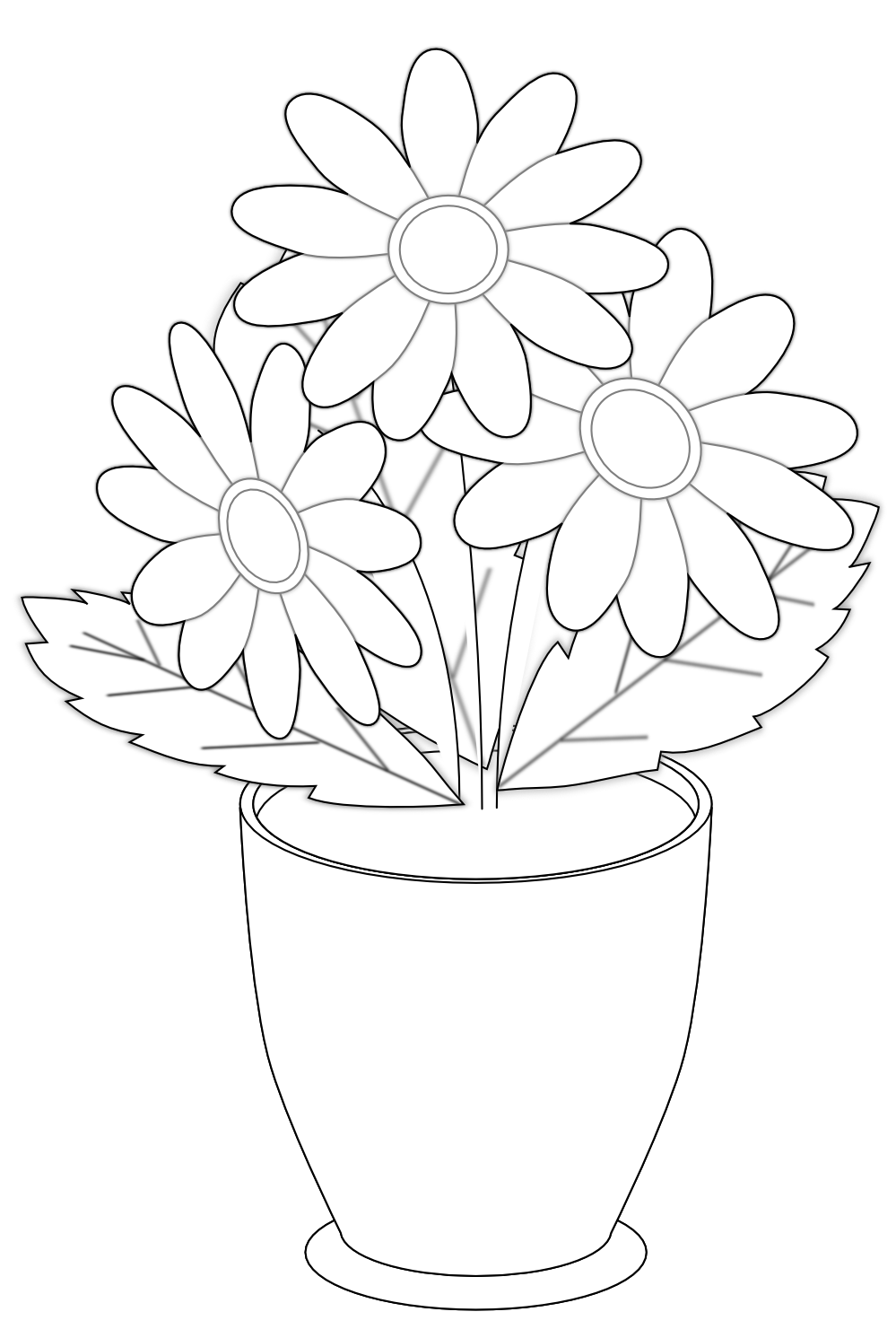 999x1491 Png Vase Black And White Transparent Vase Black And White.png