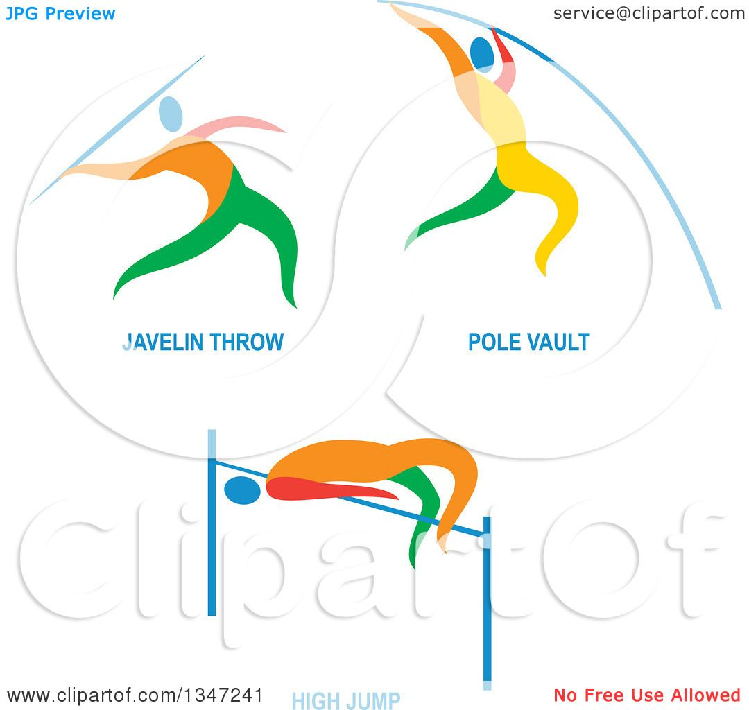 1080x1024 Clipart Of Colorful Track Field Javelon Throw, Pole Vault