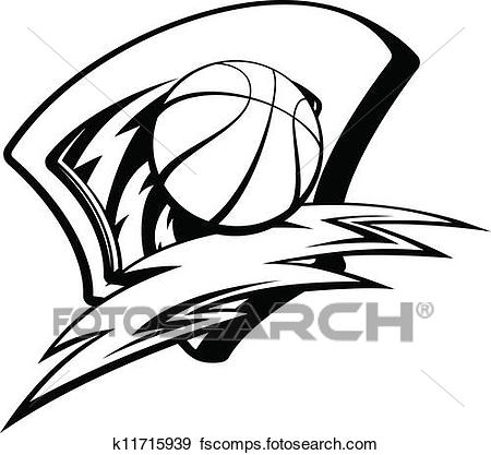 450x417 Clip Art Of Basketball Lightening Shield K11715939