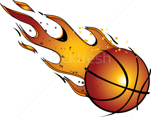 600x465 Flaming Basketball Vector Clip Art Vector Illustration Damon