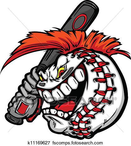 422x470 Clip Art Of Cartoon Baseball Ball Face With Mohawk Hair Holding