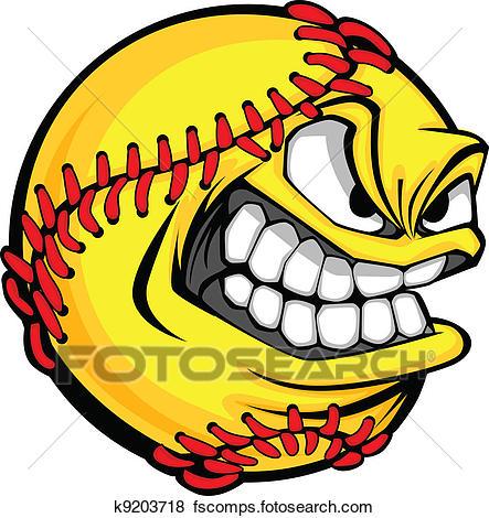 443x470 Clip Art Of Fast Pitch Softball Face Cartoon Ball Vector Image