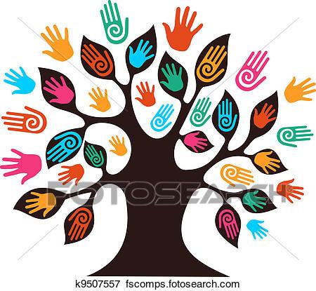 450x415 Clip Art Of Isolated Diversity Tree Hands K9507557
