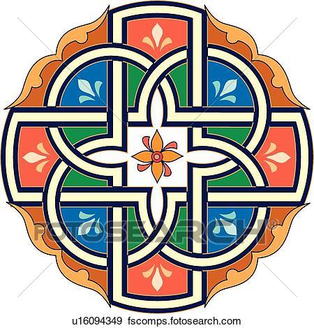 450x470 Clip Art Of Orange, Green, Blue And Brown Round Arabesque Design