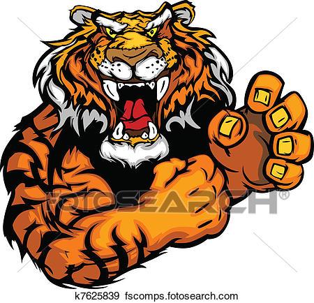 450x434 Clip Art Of Vector Image Of A Tiger Mascot K7625839