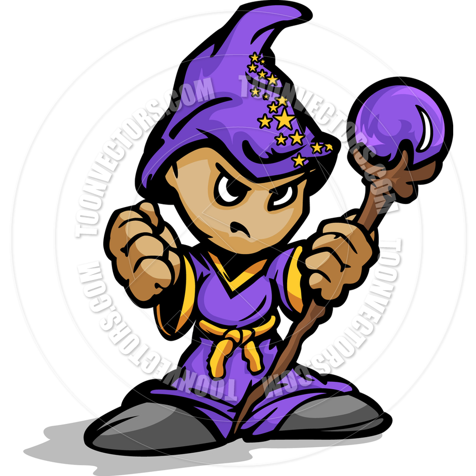 940x940 Tough Guy Cartoon Wizard With Magic Staff Vector Graphic By