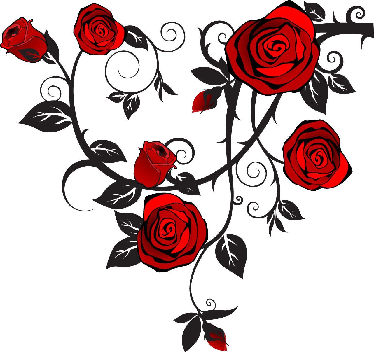 1282x1207 Best Rose Vine Art Vector Cdr Free Vector Art, Images, Graphics