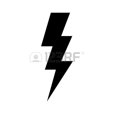 450x450 Yellow Lightning Icon. Cut It Out. Illustration Of Isolated Danger