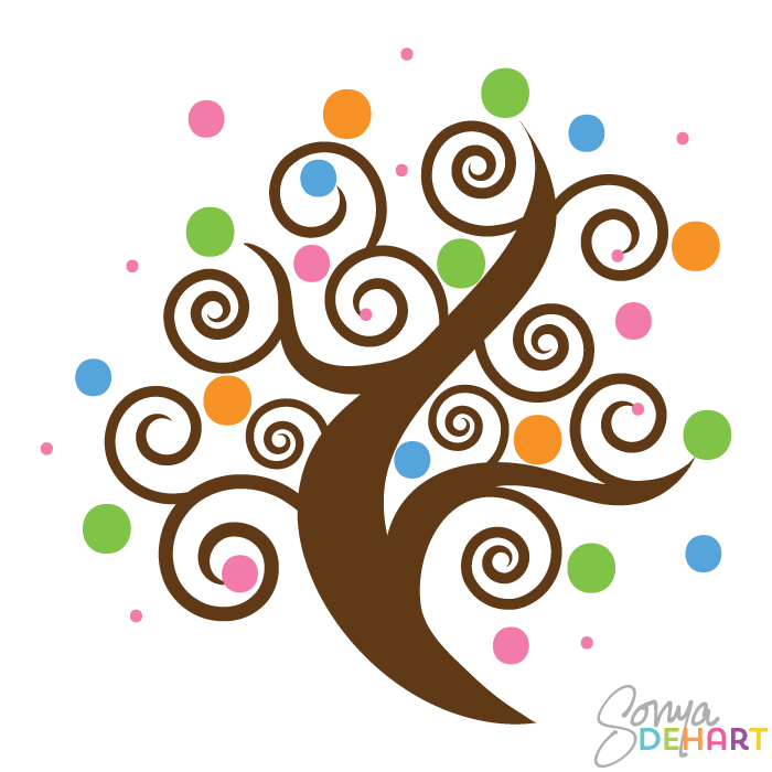 700x700 Vector Swirl Trees Clip Art Set Swirly Designs