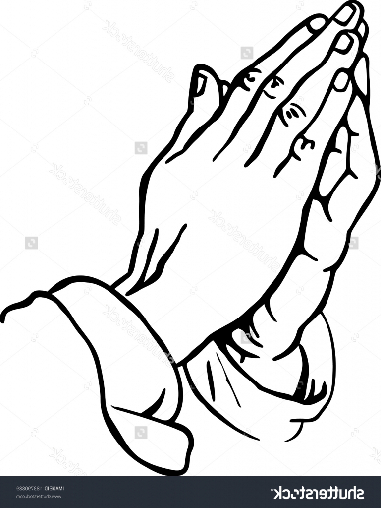 769x1024 Hands Praying Drawing Line Drawing Of Praying Hands Stock Vector