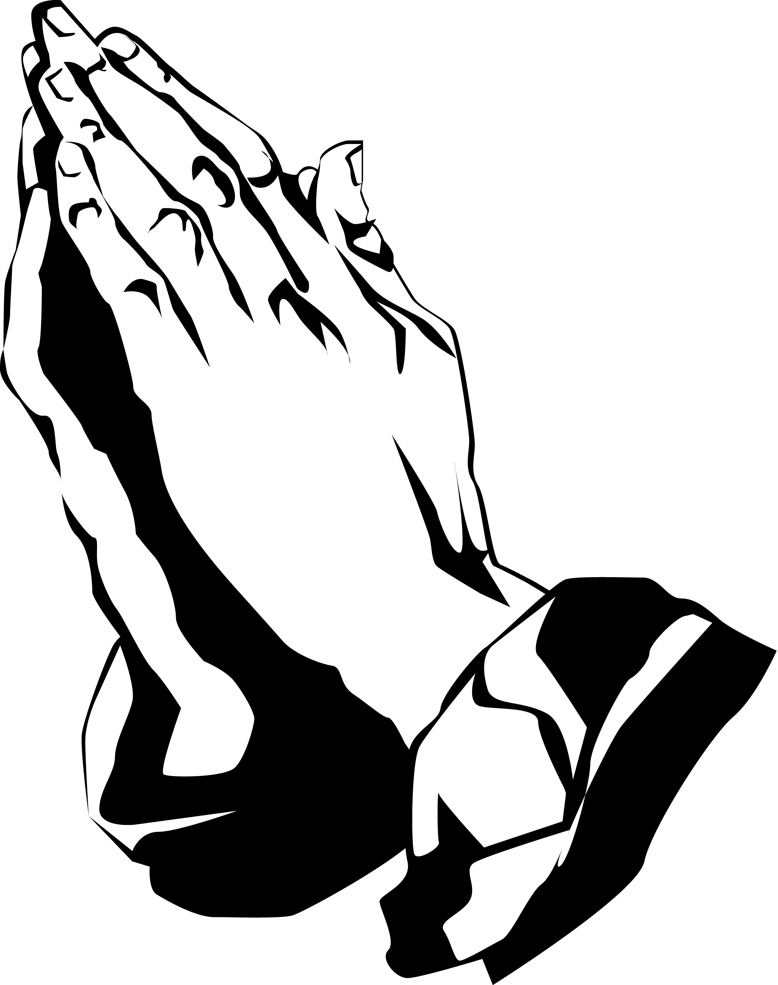 2550x3229 Cross With Praying Hands Clipart