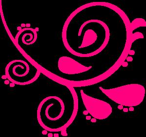 299x279 Pink Left Swirl Clip Art