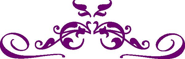 600x193 Purple Flower Swirl Clip Art