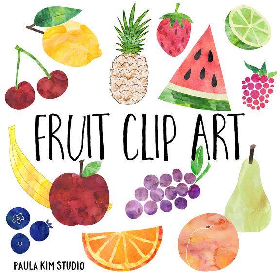 570x570 Watercolor Fruit Clip Art, Fruit Clipart, Instant Digital Download